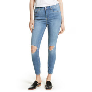 FREE PEOPLE High Rise Busted Knee Skinny Jeans 31